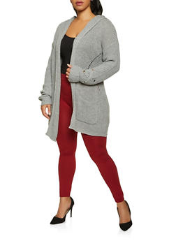 Plus Size Two Pocket Hooded Cardigan - 3926015994560