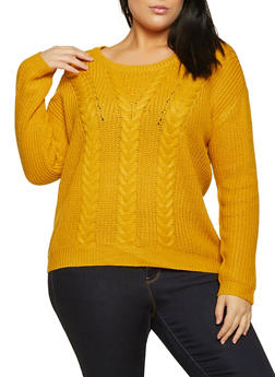 Plus Size Lace Up Back Cable Knit Sweater - 3926015995000