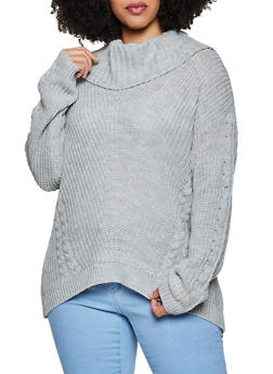 Plus Size Cowl Neck Cable Knit Sweater - 3926015995310