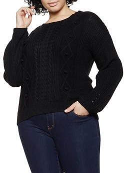 Plus Size Cable Knit Pom Pom Sweater - 3926015995324