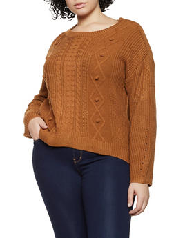 Plus Size Cable Knit Pom Pom Sweater - 3926015995324