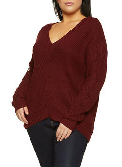 Plus Size Solid V Neck Sweater - 3926015995580