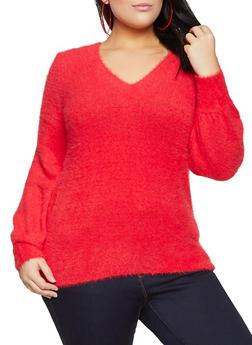 Plus Size Eyelash Knit Sweater - 3926015995720