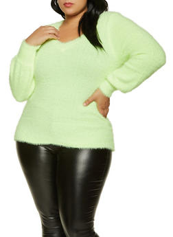 Plus Size Eyelash Knit Sweater - 3926015995720