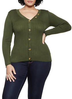Plus Size V Neck Button Top - 3926015995780