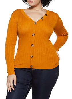 Plus Size V Neck Button Top - 3926015995780