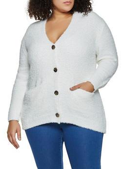 Plus Size Sherpa Cardigan - 3926015995840