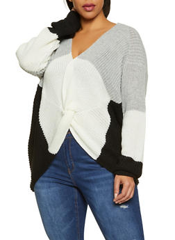 Plus Size Color Block Twist Front Sweater - 3926015996030