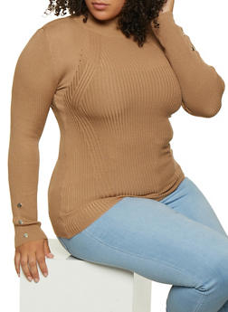 Plus Size Mock Neck Sweater - 3926015996080