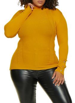 Plus Size Mock Neck Sweater - 3926015996080