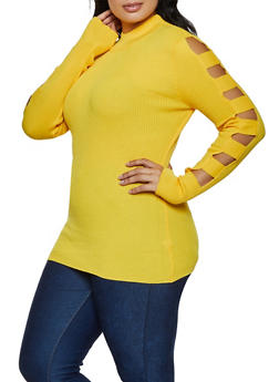 Plus Size Cut Out Sleeve Ribbed Sweater - 3926015996100