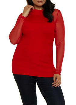 Plus Size Mesh Sleeve Sweater - 3926015996110
