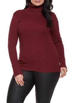 Plus Size Ribbed Knit Turtleneck Sweater - 3926015996130
