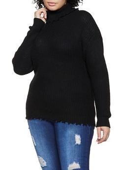 Plus Size Frayed Turtleneck Knit Sweater - 3926015996150