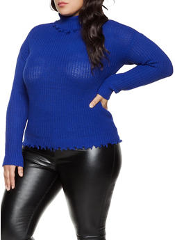 Plus Size Frayed Turtleneck Knit Sweater - 3926015996150