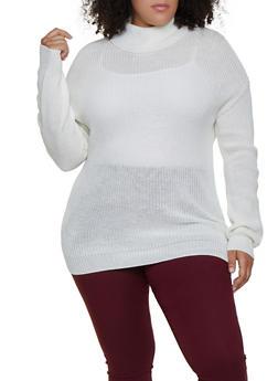 Plus Size Knit Turtleneck Sweater - 3926015996151