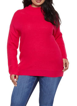 Plus Size Knit Turtleneck Sweater - 3926015996151