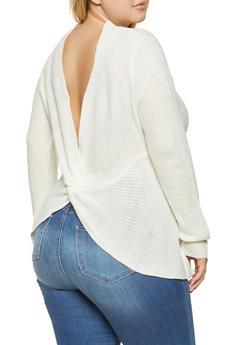 Plus Size Reversible Twist Detail Sweater - 3926015998670