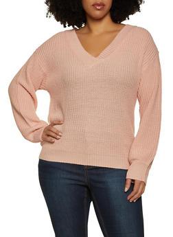 Plus Size Basic V Neck Sweater - 3926015999000