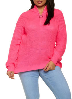 Plus Size Zip Neck Sweater - 3926015999710