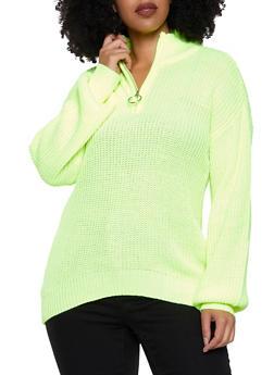 Plus Size Zip Neck Sweater - 3926015999710