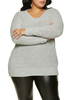 Plus Size Fixed Cuff V Neck Sweater - 3926015999960