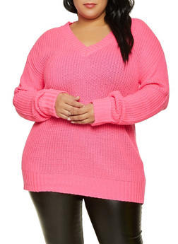 Plus Size Fixed Cuff V Neck Sweater - 3926015999960