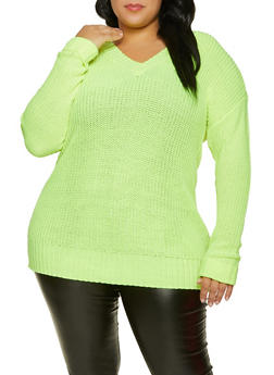 Plus Size Fixed Cuff V Neck Sweater - NEON LIME - 3926015999960