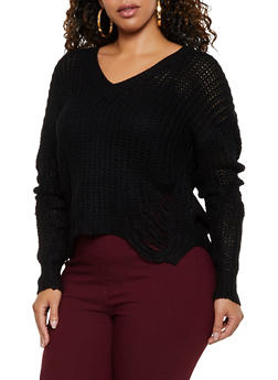 Plus Size Ripped Knit V Neck Sweater - 3926061350023