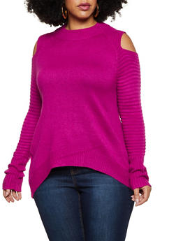 Plus Size Ribbed Detail Cold Shoulder Sweater - 3926061350032