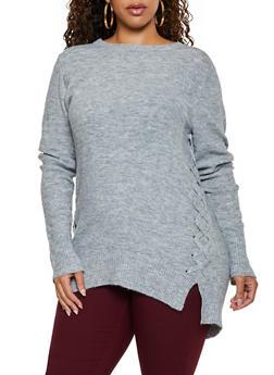 Plus Size Lace Up Tunic Sweater - 3926061350054