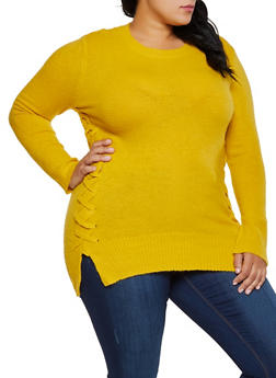 Plus Size Lace Up Tunic Sweater - 3926061350054