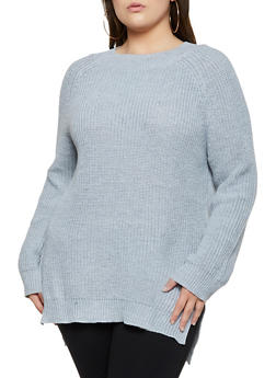 Plus Size Knit Tunic Sweater - 3926061350056