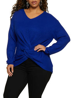 Plus Size Twist Front Knit Sweater - 3926061350078