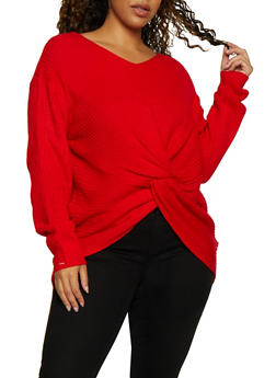 Plus Size Twist Front Knit Sweater - 3926061350078
