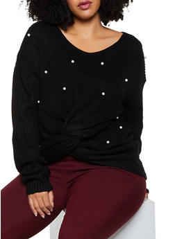 Plus Size Faux Pearl Twist Front Sweater - 3926061350080