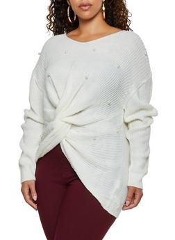 Plus Size Faux Pearl Twist Front Sweater - 3926061350080