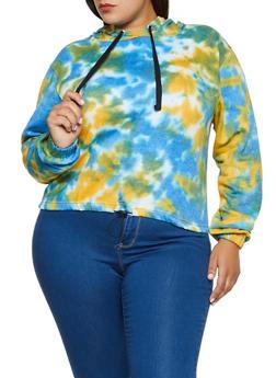 Plus Size Tie Dye Hooded Sweatshirt - 3926063401385