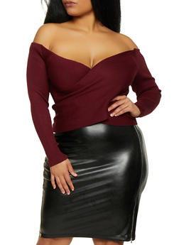 Plus Size Criss Cross Off the Shoulder Sweater - 3926069391570