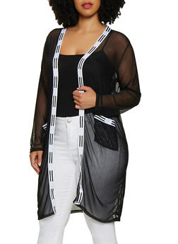 Plus Size Mesh Contrast Trim Duster - 3926072241008