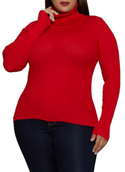 Plus Size Solid Rib Knit Turtleneck Sweater - 3926072291911
