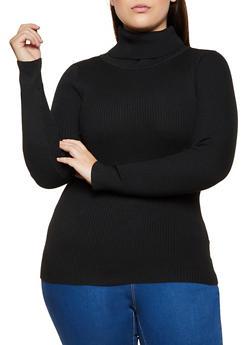Plus Size Ribbed Turtleneck Sweater - 3926072292911