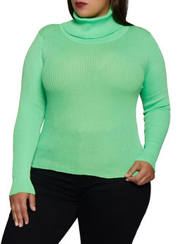 Plus Size Ribbed Turtleneck Sweater - 3926072292911