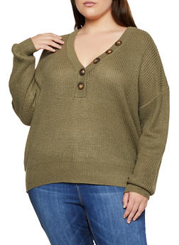 Plus Size Half Button Sweater - 3926075390002