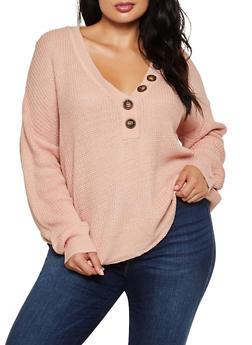 Plus Size Half Button Sweater - 3926075390002