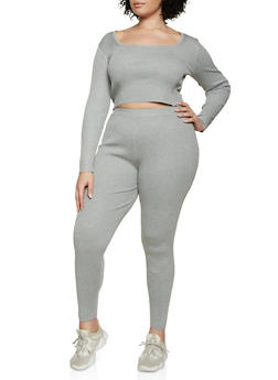 Plus Size Cropped Sweater and Leggings Set - 3927015991330
