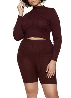 Plus Size Mock Neck Sweater and Bike Shorts Set - 3927015999540
