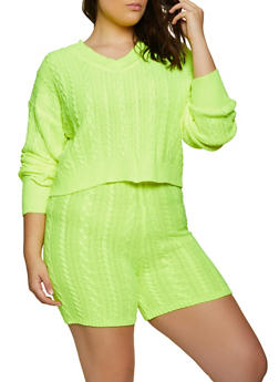 Plus Size Cable Knit Sweater and Bike Shorts - 3927015999890