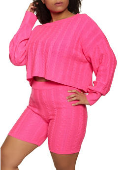 Plus Size Cable Knit Sweater and Bike Shorts Set - 3927015999940