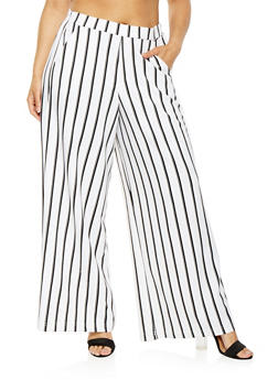 Plus Size Striped Palazzo Pants - 3927056574260